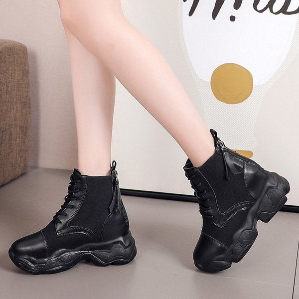 Women Casual Canvas Boots White Wedge Shoes Woman New Autumn Ankle Boots For Women Platform Boots Women 8.5CM High Heels