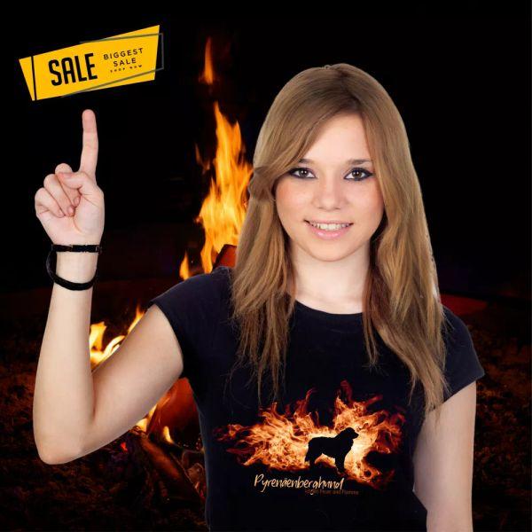 SALE Pyrenean Mountain Dog Patou Fire Flame Dog Motif Ladies T-Shirt Dog L