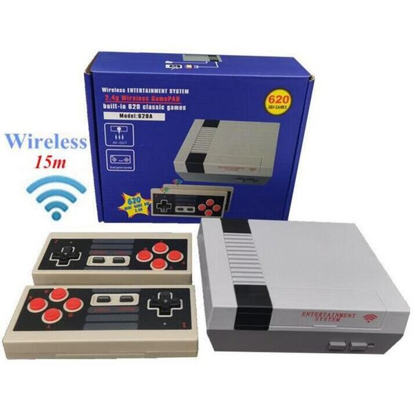 best selling 620 in 1 New 8 Bit 2.4G Wireless Video Game Console can store 620 games Retro TV Console Box AV Output Dual Player Controller 111