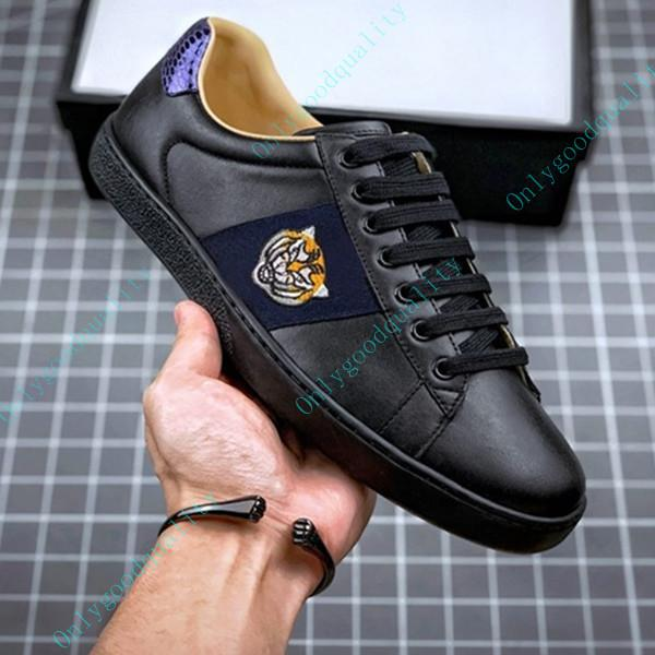 best selling Men Women Casual Shoes Flat Platform Snake Top Quality Chaussures Leather Sneakers Ace Bee Embroidery Stripes Walking Sports Shoe