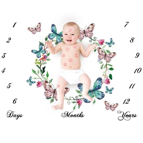 top popular Super Cute Nordic Style Baby Photo Sheet White Ground Letter Flower Printed Sheet Photo Backdrop Photography Prop Shoots Sheets 113 Z2 2021