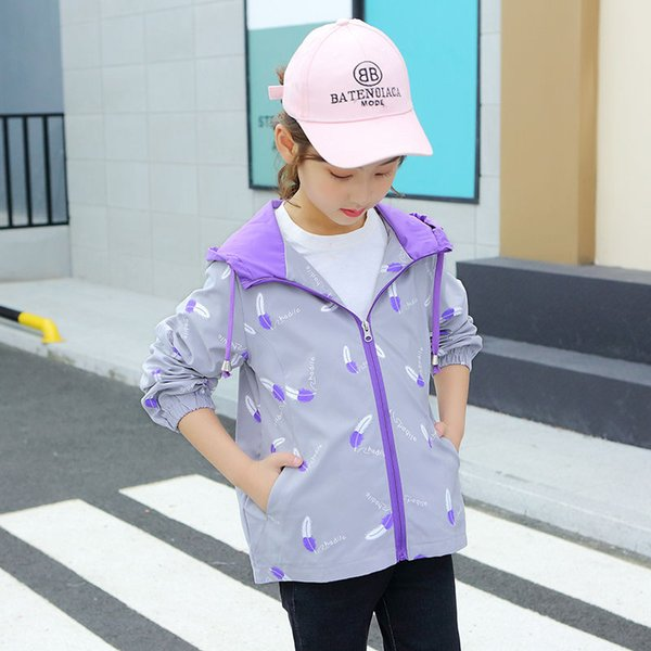 INS HOT girls coat 4-13 years old childrens jacket Printed feather hooded trench coat Childrens clothing girls autumn clothing