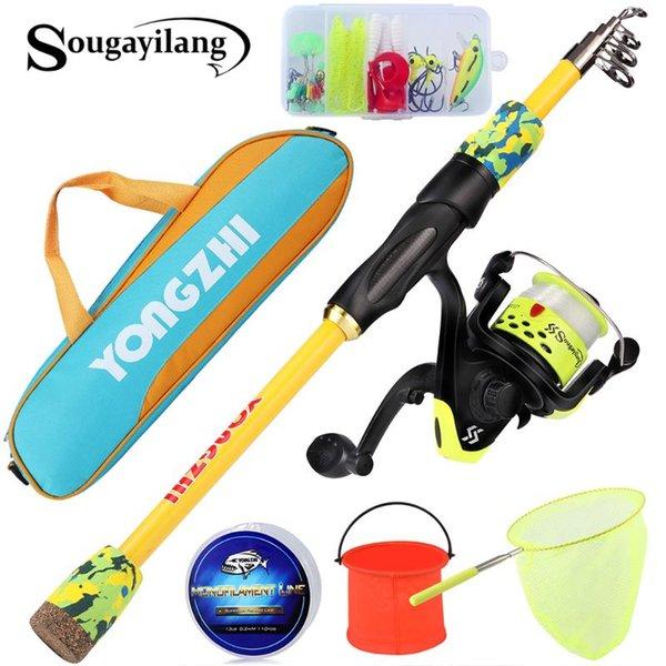 top popular Sougayilang Fishing Rod Full Kit 1.5m 5ft Super Light Carbon Feiber Portable With Reel Line Lure Bag Net Combo 2021