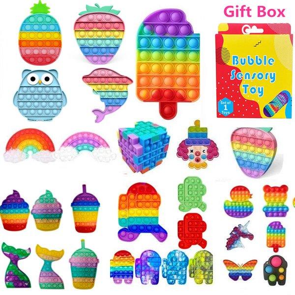 best selling Push Popit Bubble Fidget Sensory Toy Stress Reliever Stress Relief Toys Sensory Toys Stress And Anxiety Relief Toys For Children With Gift Box