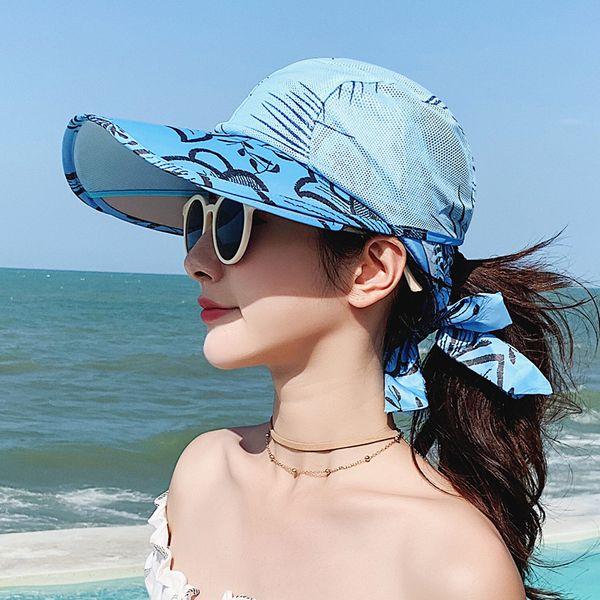 top popular 2021 women's beach summer travel sunscreen hat travels vacation fashion wild sun hats with box 2021