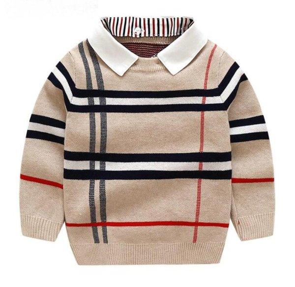 top popular Autumn Warm Wool Boys Sweater Puller Plaid Children Knitwear Toddler Cotton Winter 2-7Y Kids Fashion Outerwear 2021