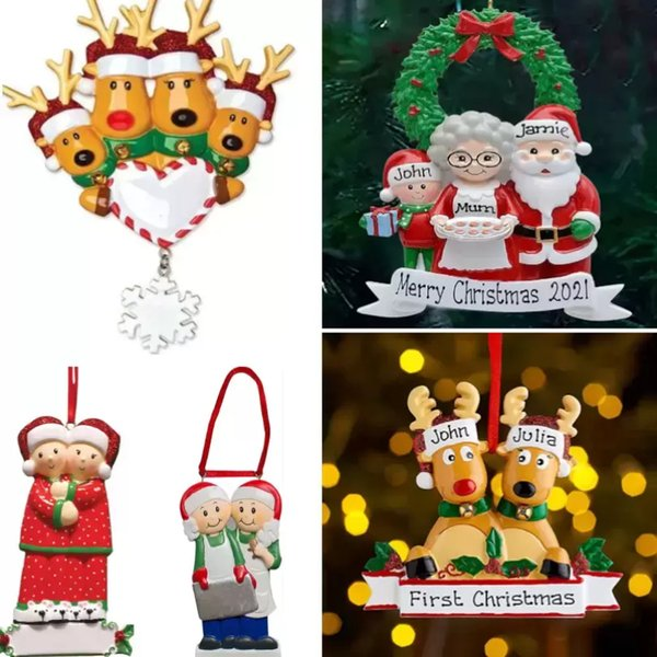 best selling Resin Personalized Deer Family of 2 3 4 5 6 7 And 8 Christmas Tree Ornament 2021 Cute Santa Deers Winter Gift Year Durable Family's Xmas Decorations Set
