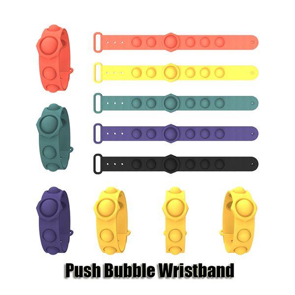 top popular Push Bubble Pop Fidget Toys Party Sensory Ring Bracelets Decompression Keychain Puzzle Press Finger Bubbles Stress Bracelet Wristband 2021