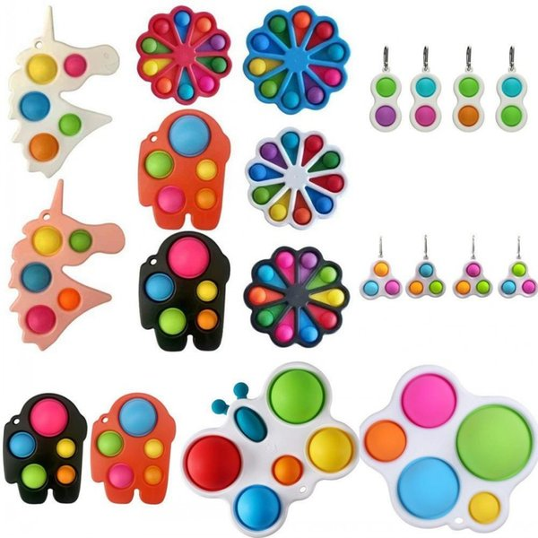 top popular Rainbow Butterfly Flower Shape Push Fidget Bubble Toys Sensory Simple Dimple Key Ring Finger Toy Keychain Squeeze Bubbles Ball 2021