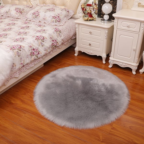 top popular Plush area rugs Pure color round carpet hanging basket tent swivel chair cushions imitation wool living room bedroom carpet6-7cm 2021