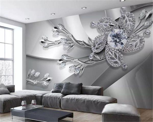 top popular Custom Modern 3d Wallpapers Cool Metal Texture Diamond Jewels Living Room TV Background Wall Decoration Mural Wallpaper 2021