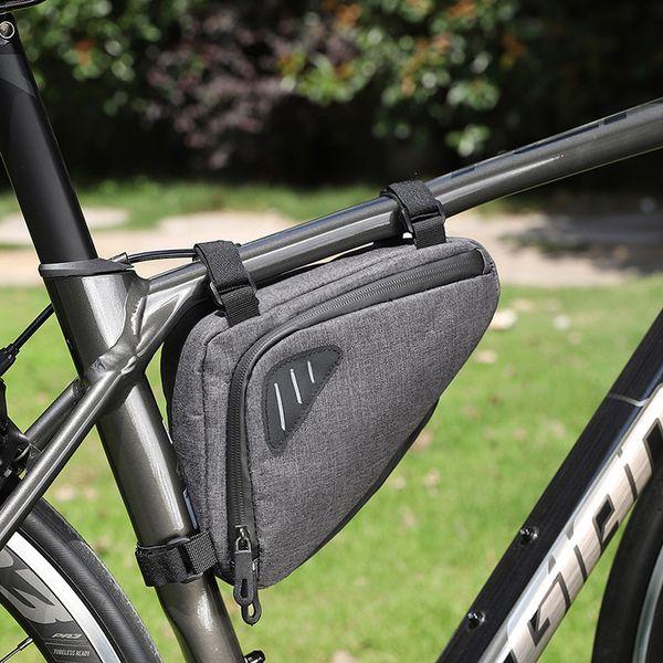 top popular Reflective Bicycle Bag Mountain Bike Tool Kit Bicycle Lower Tube Bag Riding Front Beam Bag Dark Hemp Gray Outdoor Cycling 2021