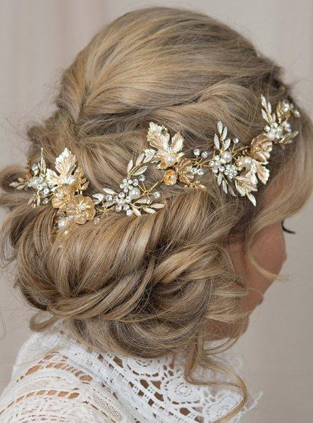 Gold Bridal Hair Vine Gold Leaf Crown Wedding Tiara Bridal Comb Gold Crown Metallic Comb Flower Hair Vine for Women