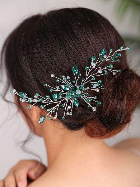 Wedding Bridal Hair comb Rhinestone Green Headband Trendy Fascinators Bohe Hair Accessories Women Hair Ornaments Headpiece
