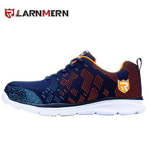 New LARNMERN light breathable safety shoes men's steel toe work shoes, men's impact-resistant construction sneakers, reflective