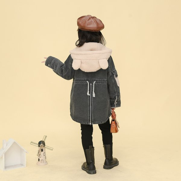 Baby Girls winter coat 5-13 years old Denim fabric stitching short plush lining thick winter hooded padded trench winter jacket