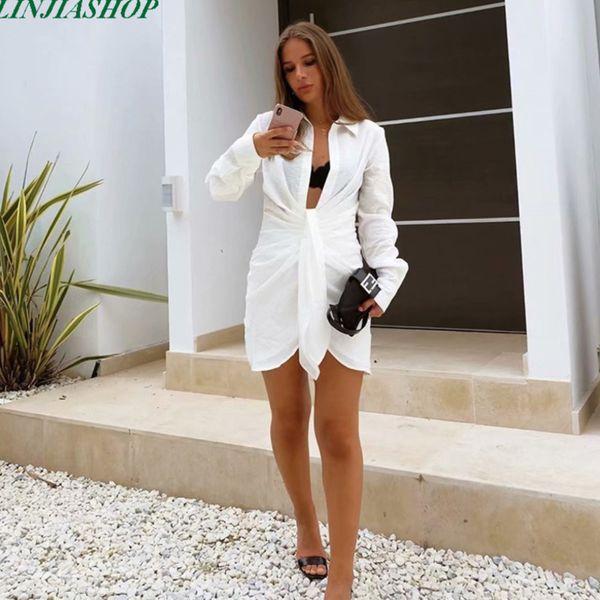 best selling dress Special interest Design Mini skirt Summer Long Mouths Women Irregularity Vocation Style Sexy Loose White Shirt Address
