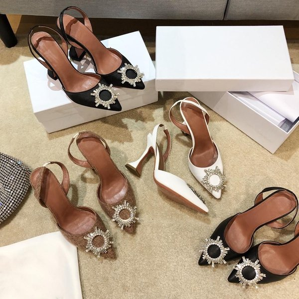 Prowow Woman Sexy Crsytal Buckle Pumps Shoes Woman Pointed Toe High Heels Pumps Slingbacks Mujer Bombas Designer Woman Pumps
