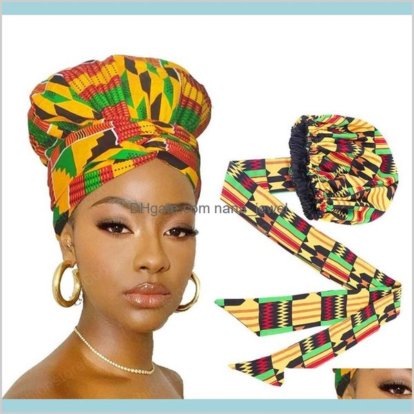 best selling African Print Satin Bonnet With Long Ribbon Wrap Double Layer Headwrap Ankara Pattern Women Hair Cover Large Size Hair Wrap Cap Aj5Up Lwu4Y