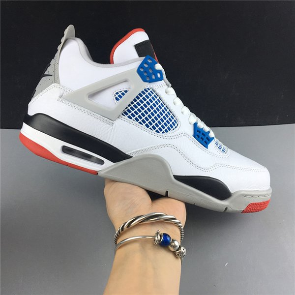 Air 4 What The CI1184-146 4s IV White Blue Kicks Women Men Sports Shoes Sneakers Best Quality Trainers With Original Box