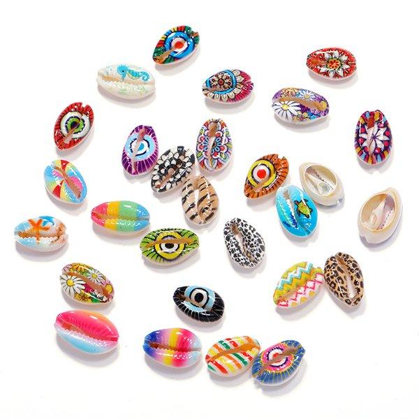 top popular 100pcs 18-20mm Random Mix Printing Pattern Shell Beads For Jewelry Making DIY Bracelet Necklace Fashion Charm 2021