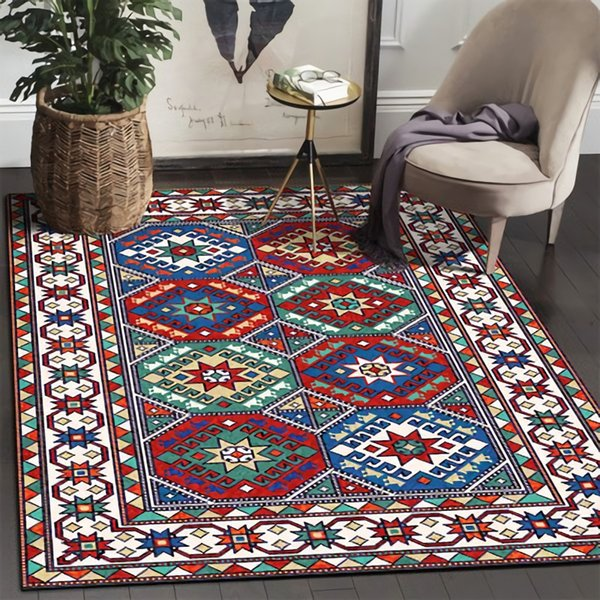 Eovna Washable Rug for Living Room Non-slip Modern Printing Geometric Floor Rug Carpet for Bedroom Area Rug for Living Room