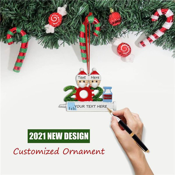 best selling In Stock Quarantine Personalized Christmas 2021 Decoration DIY Hanging Ornament Cute Resin Snowman Pendant Social Distancing Party DHL Fast Free Delivery