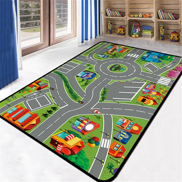 Eovna Area Rug Crawling Mat Kids Play Mat Map Large Carpet for Living Room Cartoon Planet Rugs Carpets for Living Room