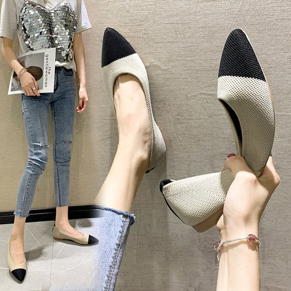 Knitting Shoes Women Slip On Loafers Flats 2021 Autumn New Female Casual Shoes Pointed Breathable Loafers Flats