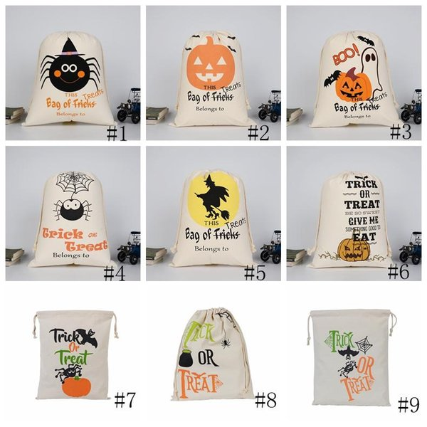 best selling Christmas Halloween Candy Bag Gift Sack Treat or Trick Pumpkin Printed Canvas Bags Hallowmas Party Festival Drawstring Bag