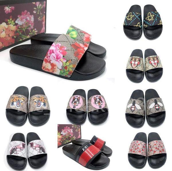 top popular 2021 Summer men women Top quality slippersFlat platform sandals Rubber slide Floral brocade Gear bottoms flip flops striped Beach causal slippe 2021