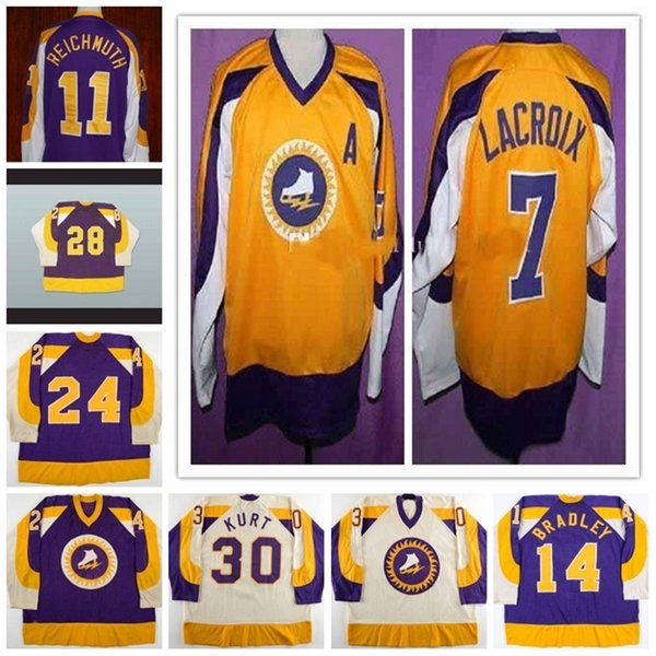 521973-74 Gary Coulter Brian Bradley Craig Reichmuth ANDRE LACROIX New York Golden Blade WHA Retro Hockey Jerseys Custom Any Number and Name