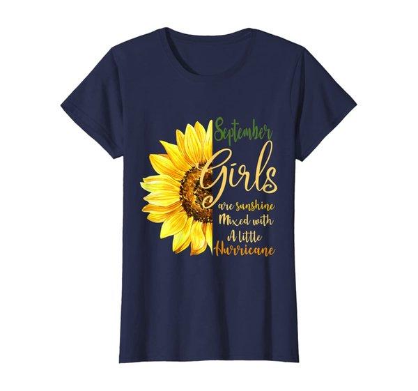 Womens September Girls Are Sunshine Mixed Little Hurricane T-shirt T-Shirt