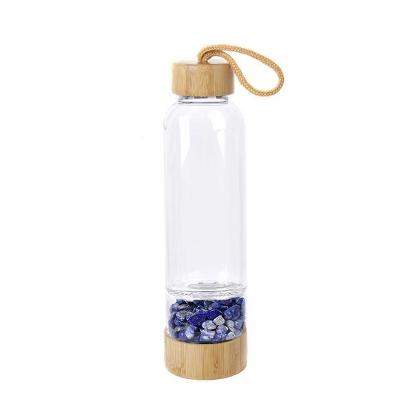 Natural Crystal Quartz Gravel Gemstone Healing Glass Energy Elixir Drink Water Bottle Bamboo Glass Cup Gift Cute Water Bottle