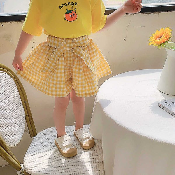 best selling South Korea Clothing 2021 Summer New Girls' Check Shorts Men's and Women's Beach Children's Pants Fashion