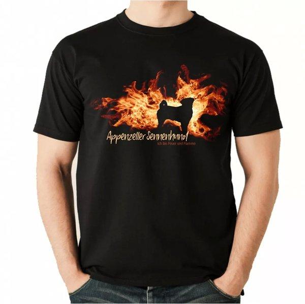 Unisex T-Shirt Appenzell Sennenhund fire and flame Dog Men Dog Motif