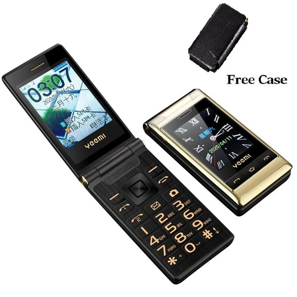 best selling Original Flip Double Dual Screen Cell phones 2 SIM Card One key Speed Dial Touch Handwriting Big Keyboard FM Senior Luxury Gold Cellphone For Old People Free Case