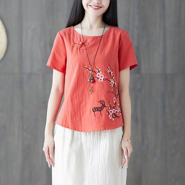 Ladies Chinese Tops Women Summer Traditional Chinese Clothing Embroider Vintage T Shirt Chinese Style Clothing Women 11792 Apparel Ethnic Clothing DIY Clothing Mens Clothing Womens Clothing