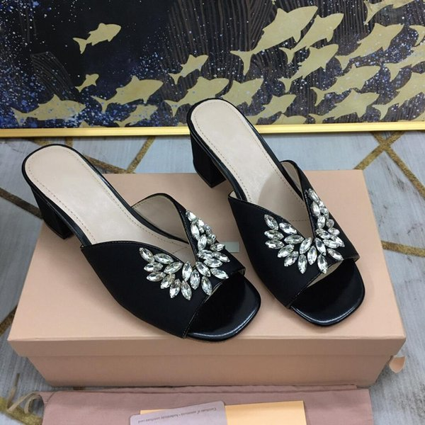 Slippers Slippers Woman Crystal Peep-toes Slippers Med Square Heels Peep-Toes Mules Woman Zapatos De Mujer