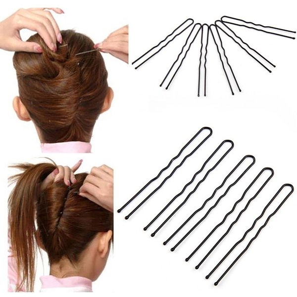 50Pcs/Lot 6cm Hair Clips Black Waved U-shaped Hair Pins Barrette Mini Size Salon Grip Clip Metal Women Styling Tools Hairpins