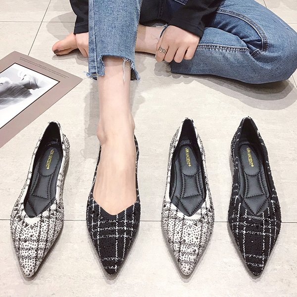 Women Flats Shoes Pointed-Toe Slip-On Loafers Plaid Boat Shoes Women Soft Shallow Ladies Flats Light Driving Loafers