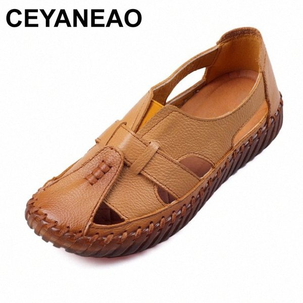 CEYANEAO Womens Sandals 2018 Summer Genuine Leather Handmade Ladies Shoe Leather Sandals Women Flats Retro Style Mother Shoes Prom Shoes Silver Shoes y2LA#