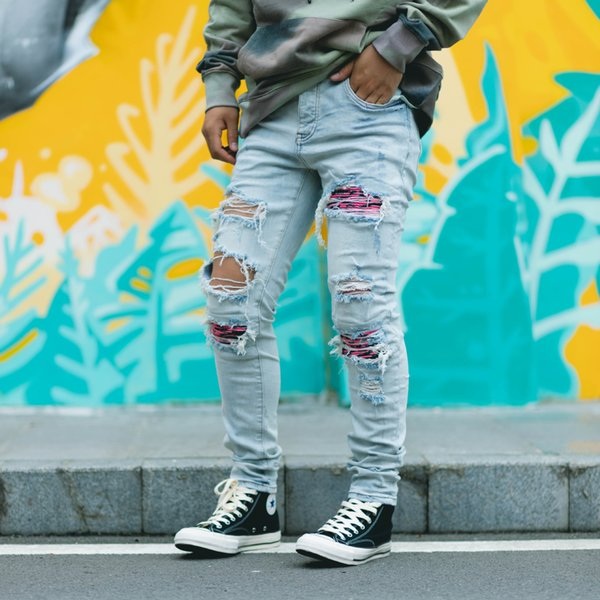American High Street Brand Ripped Distressed Washed Blue Man Pants Streetwear Slim Mens Jeans Trousers Mens Clothing Mens Clothing Mens Pants Apparel Mens Jeans