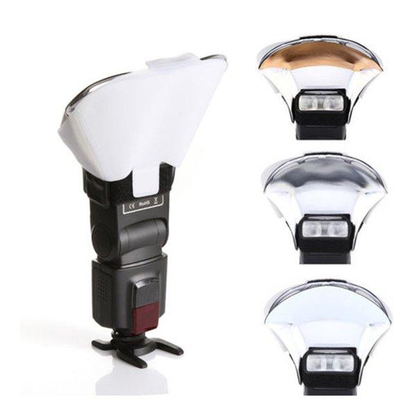 Cheap Diffuser Speedlight Flash Lightning Bounce Reflective Card Diffuser w  3 Color Soft Box Flash Speedlite Reflector on Sale