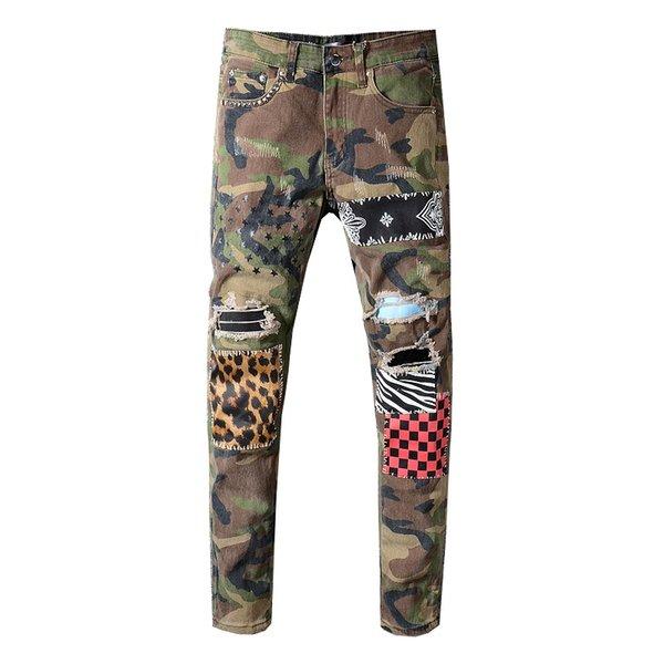 best selling Men Jeans Jogger Military Multi-Pocket Cargo Pants Hip Hop Slim Fit Motorcycle Denim