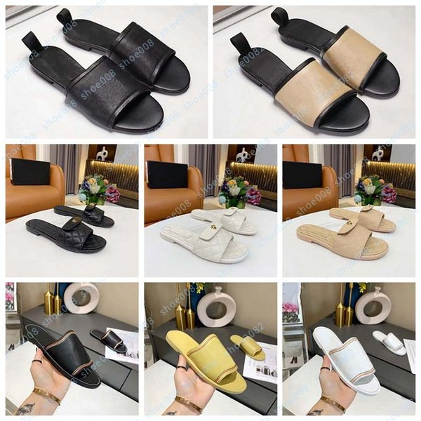 top popular Luxury flat sandals DESIGN EMBROIDERED tricolor slippers shoal leisure indoor complete set of accessories 35-41 shoes 008 130-10 2021