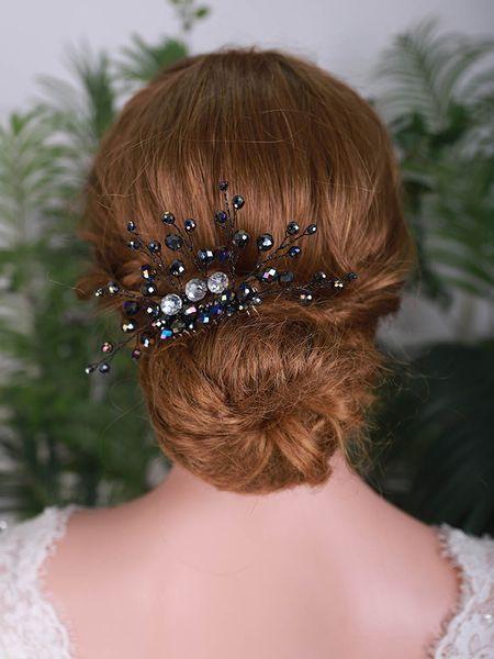 Balck Crystal Bridal Hair Comb Elegant Women Headpieces Flower hair jewelry Party Headdress Wedding Hair Ornaments For
