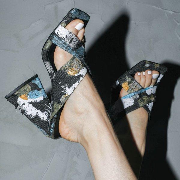 Slippers Ladies Summer Ladies Sandals 2021Outdoor Slippers High Heels Luxury Denim Sexy Women Shoes 34-45 Shoes Women High Heels