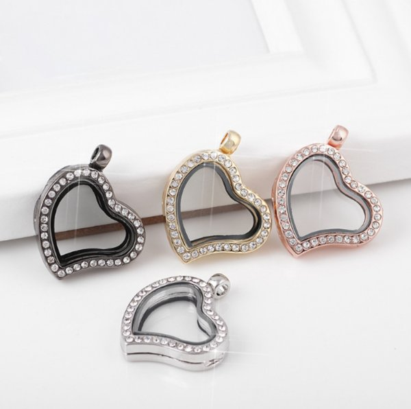 top popular locket Living Memory photo glass crystal frames open charm floating lockets pendants for necklace 2021