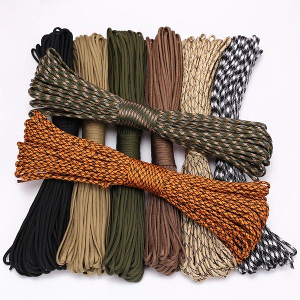 best selling 4 Size Dia.4mm 9 stand Rope Paracord for Survival Parachute Cord Lanyard Climbing Camping Ropes Hiking Clothesline